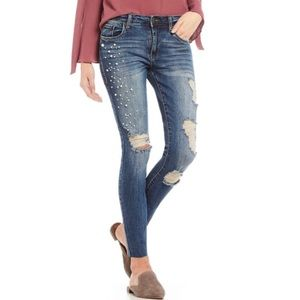 Piper Destructed Pearl Raw Hem Ankle Skinny Jeans